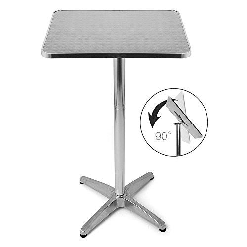 Bakaji tavolino in alluminio per esterno pieghevole 60 x 60 cm con altezza regolabile 70/110cm tavolo bistrot ripiano top in acciaio inox quadrato per bar casa giardino ristorante colore silver