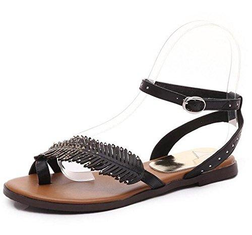 YEEY Summer round aperto punta per le donne Beach Post sandali infradito infradito scarpe piatte Black
