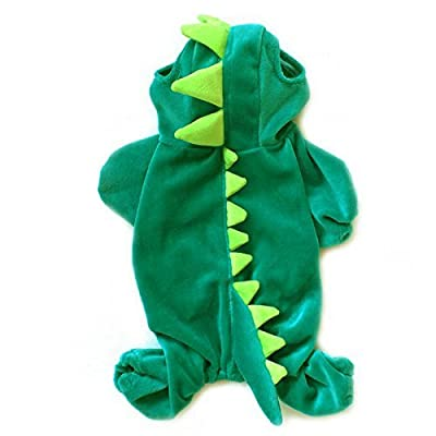 Halloween Costume Dinosaur Design Dog Poodle Coat Clothing Overall Jumpsuit