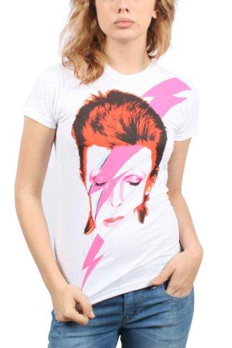 David Bowie - - Frauen-Watch That Man T-Shirt in Weiß, Weiß - Weiß, S (Lizenzierte Crewneck Offiziell)