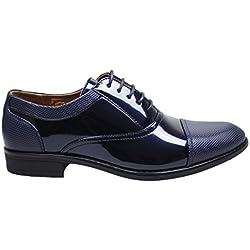 Scarpe uomo class blu scuro vernice linea classica man's shoes eleganti cerimonia (41)