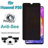 2 Stück Huawei P30/P30 Pro Panzerglas- Datenschutz Anti-Spion HD Schutzfolie (für P30 6.1inch)