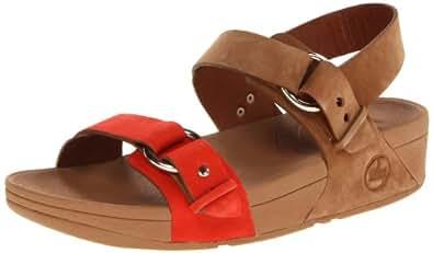 FitFlop Women's Via Bar Fashion Sandals Black black  Brown Size: 3.5