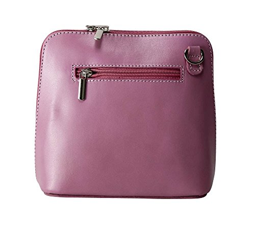 Vera Pelle Italiana Piccolo Croce Corpo Borsa o borsa a tracolla Purple Small Dusty Pink
