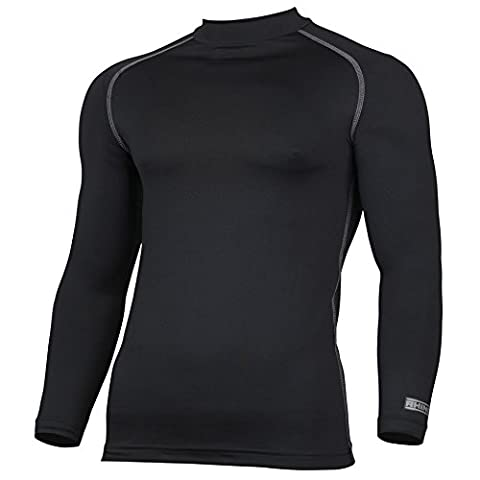 Rhino Base Layer Top Adult - Unisex Long Sleeve Sports Compression Body Fit Top Black Small/Medium