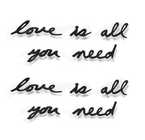 """Umbra - Adesivo murale romantico """"Love is all you need"""", colore: Nero"""