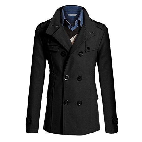 Wool Blend Trench (Lanmworn Herren New Winter Warm Revers Zweireihig Mittel Lange Mäntel Männer Stylische Jacke, Schlank Stehkragen Wollmantel Trenchcoat Windjacken Outwear Regenmantel.)