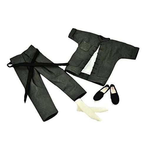 1/6 Kurze Ärmel Grau Chinesischen Stil Kostüm Für 12 \ (Kostüm Bruce Lee)