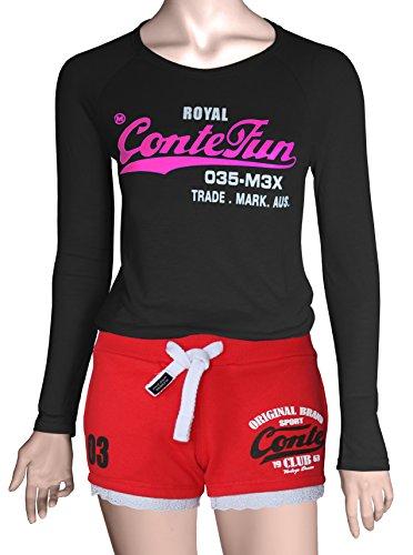 M.Conte Damen Jersey-Shorts Basic Skinni Fit Sport-Shorts / Training Retro-Shorts kurze Damen-Hose Pants Jogginghose Sporthose Blau Neon Pink Weiss Rot S M L XL Rot Red