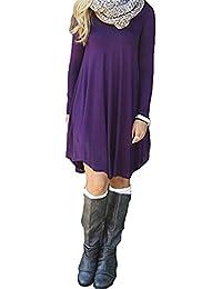 3d50d6c2e7a QRANSS Women s Loose Long Sleeve T-Shirt Dress Tummy Hide Tunic Top