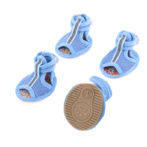 2-paar-gummisohle-blaue-masche-sandals-yorkie-chihuaha-hundeschuhe-grosse-xxs