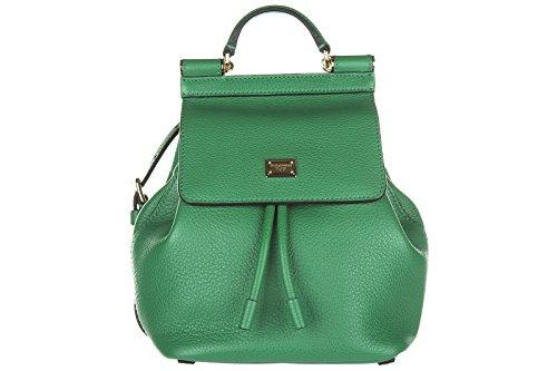 Preisvergleich Produktbild Dolce&Gabbana Leder Rucksack Damen Tasche Schulrucksack bottalato mini Grün