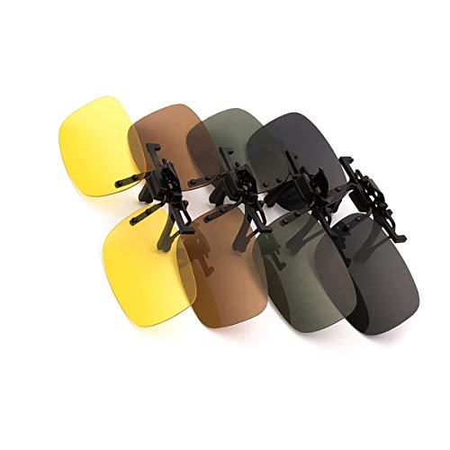 Favson Sonnenbrille, polarisiert, zum Aufstecken, für Outdoor-Aktivitäten, Wandern, Autofahren, Angeln, Radfahren, 4 Stück, Gelb + Grau + Dunkelbraun + Dunkelgrün