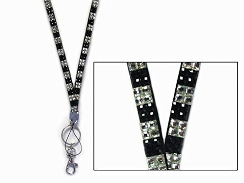 Black & Clear Checkered Rhinestone Lanyard with ID Badge Holder & Keyring Attached by Sizzle City
