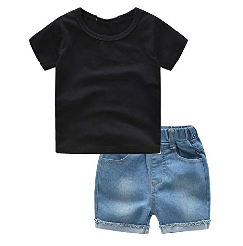 LABIUO 1-4 Jahre Alte Kinderkleidung Kinder Jungen Schwarz T-Shirt Spitze+Denim Shorts Outfits Set Baby Kleidung,Sommer Gentleman Kostüm(Schwarz,6-12 Monate/80)