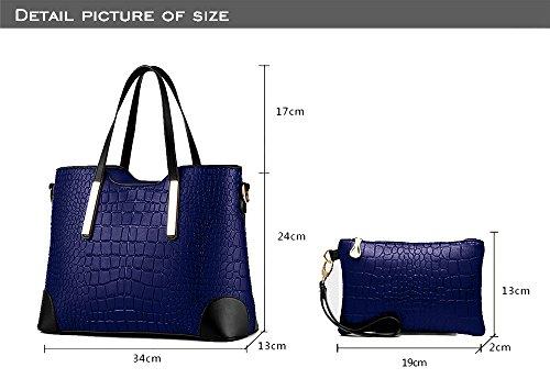 EssVita Tasche Damen Elegant Leder Handtaschen Set Schulter Beuteltote Schultaschen Schwarz Blau + Schwarz