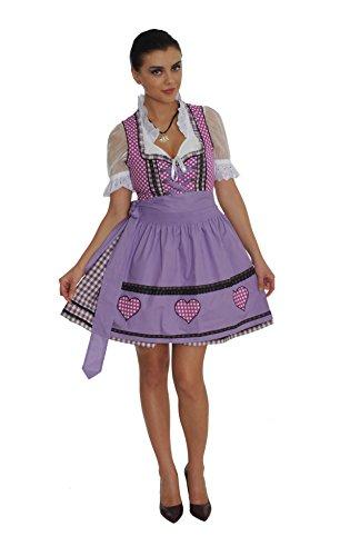 Dirndl Set 3tlg.-Trachtenkleid, Bluse und Schurze - Trachtenmode Dirndl mini Violett - Grosse: 40