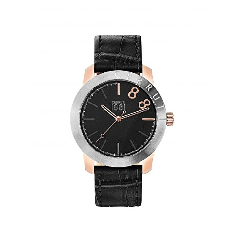 Reloj hombre–CERRUTI 1881–lago negro–pulsera cuero negro–cra154sru02bk