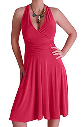 EyeCatchClothing - Nicole Neckholder Kleid Coral Gr. 8 UK / 36 EU