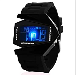 SHVAS Digital Black Dial Men's LED Watch (AEROBLACK)