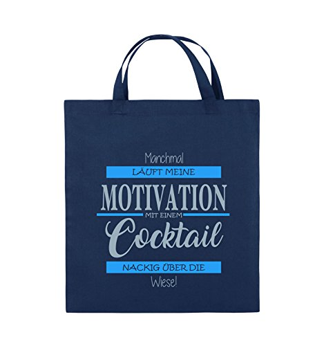 Comedy Bags - Manchmal läuft meine Motivation mit einem Cocktail nackig über die Wiese - Jutebeutel - kurze Henkel - 38x42cm - Farbe: Schwarz / Weiss-Neongrün Navy / Eisblau-Hellblau