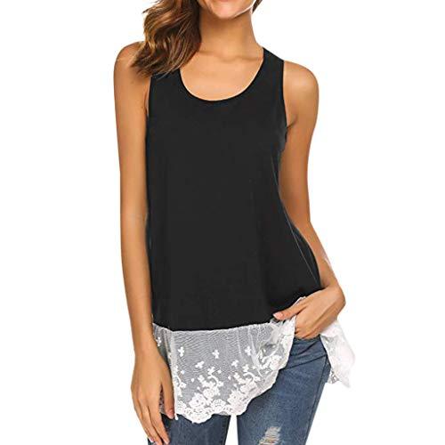 WWricotta Damen Chiffon Spitze ärmellose Top lässige Weste Fashion Women Sleeveless Lace Bow T-Shirt Casual Tank Top - Schwarz Chiffon Bow Top