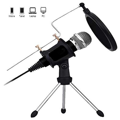 Two mice PC/Telefon-Mikrofon, 3,5mm Aufnahme-Mikrofon Plug and Play, Computer-Mikrofon mit Filter Geeignet für Sprachaufzeichnung, iPhone, Podcasting, Skype, YouTube, Singen