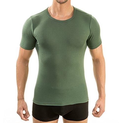 HERMKO 3840 Herren Business Shirt aus Baumwolle, kurzarm Hemd slim fit, 1/2-Arm Unterhemd in vielen Farben, Größe:D 5 = EU M, Farbe:olive (Farbige T-shirts)