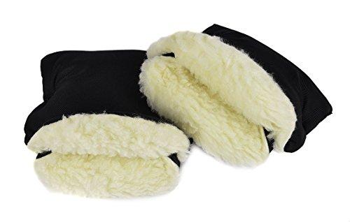 Handmuff Muff mit Fleece Innenseite Handwärmer für Herbst und Winter Lammwolle Black [073]