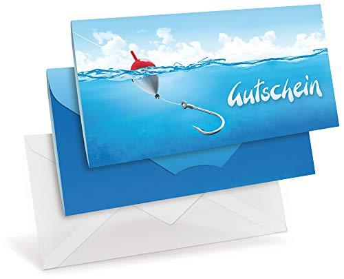 Gutscheinkaten (10 Stück) mit transparenten Briefumschlägen - Geschenkgutscheine für Urlaub, angeln, Hobby, Freizeit - DIN lang Faltkarte verschließbar, blanko Vordruck zum Eintragen der Werte