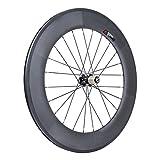 VCYCLE 700C 88mm Kohlenstoff Rennrad Fahrrad Radsatz Drahtreifen 23mm Shimano oder Sram 8/9/10/11 Speed (Hinterrad)
