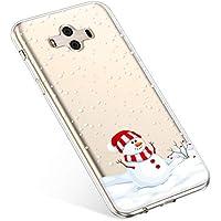 Uposao Handyhülle Huawei Mate 10 Schutzhülle Silikon Transparent Durchsichtig Handyhülle Schutzhülle TPU Dünn Handytasche Etui Case Cover,Dekorativer Schneemann