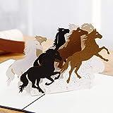 Liif Galoppierende Pferde Grußkarte für alle Anlässe, Pop-Up-Geburtstagskarte, Happy Birthday, Vatertagskarte, Glückwunschkarte, Ruhestand, Pferdegeschenk für Frauen, Pferdeliebhaber
