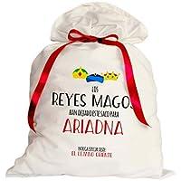 Saco para regalos Reyes Magos. Personalizado 50x80 cm. Elige el color del diseño. Decoración Árbol Navidad