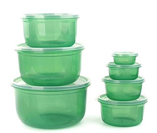 Bei2O brotdose lunch box kühlschrank aufbewahrungsbox kunststoff mikrowelle versiegelt knödel-box obst-box lebensmittel-box 7-teiliges set grüne küche erwachsene kinder büro schule (Mikrowelle Knödel)