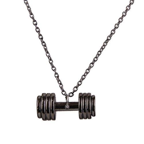 Mode Unisex Fitness Hantel Design Halskette Kette Grau Fitness-halskette