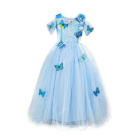 Per Robe de Soirée Longue Fille Princesse Tenue de Soirée Costume de Cérémonie Mariage Robe de Déguisement avec Papillons pour Enfant 4-8 Ans (110 - Longueur: 33.86in)