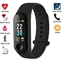 Meya Happy Fitness Band with Blood Pressure Blood Oxygen Check (Non Medical) Live Heart Rate Monitor Bluetooth v4.1 Sports Band and Activity Tracker, Sleep Monitor, Calorie/Step Counter