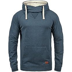 Blend Sales Herren Kapuzenpullover Hoodie Pullover Mit Kapuze Cross-Over-Kragen Und Fleece-Innenseite, Größe:XXL, Farbe:Ensign Blue (70260)