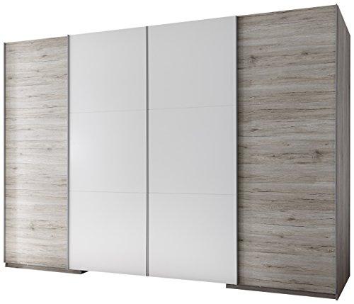 Armadio con 4 ante scorrevoli e specchio integrato, in quercia sabbia d'imitazione, ca. 315x225x117 cm