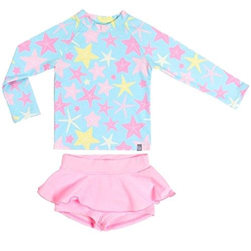 Baby Kinder Mädchen 2 Stück Lange Ärmel Badeanzug Boy-Leg Star Rash Guard UV Sonnenschutz Badeanzüge Schwimmanzug -