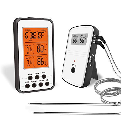 Fleischthermometer Digital, BBQ Thermometer Funk Mit Rückwand und Zeitmesser, 2 Sonden, Hintergrundbeleuchtung LED Display Sofortiges Auslesen, WLAN Bratenthermometer Backofen
