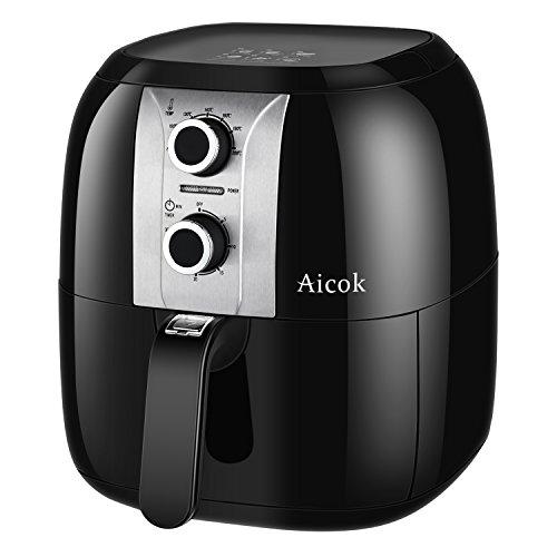 Aicok AirFryer, Freidora sin Aceite por Aire Caliente, Fríe, Tuesta, asa y Hornea, Capacidad 3.5L, 1400 W, Color Negro