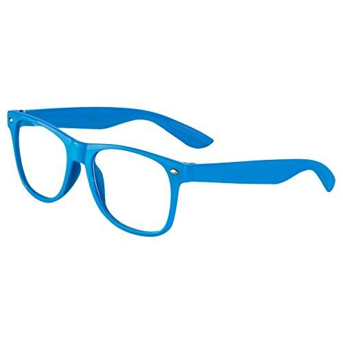 Ciffre Nerdbrille Sonnenbrille Stil Brille Pilotenbrille Vintage Look Blau Klar Glas KG4