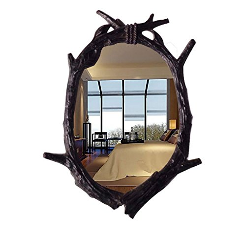 Européenne- Miroir Miroir de salle de bains exotiques Murale rétro miroir Entrée Dressing Toilettes antiques américain Décoration Beauté Lavage étanche Miroir Bienvenue ( Couleur : bois rouge , taille : 46cm*62cm )