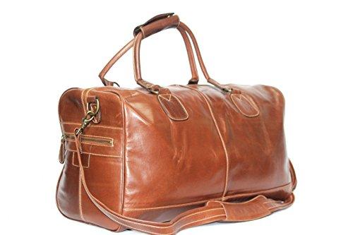 Grande mi vache brune cacher résistant à l'usure week-end en cuir véritable , sac de transport , une salle de sport , sac (une seule taille)