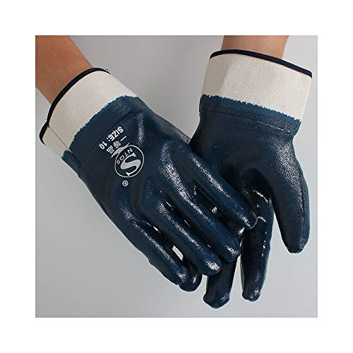 Guantes de trabajo Resistentes al aceite y al aceite Guantes de trabajo  grueso de nitrilo totalmente sumergidos, 5 pares (Color : BLUE, Size :