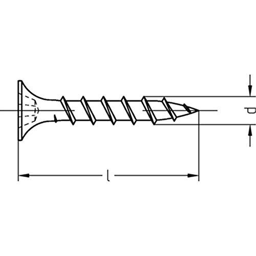 Gipsplattenschrauben mit Grobgewinde Trompetenkopf-H CE-konform phosphatiert - 4,8 x 90 - 200 Stück