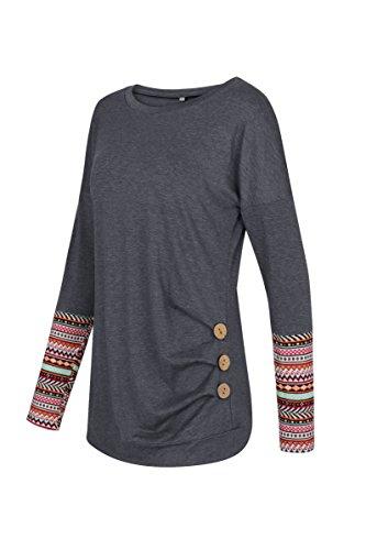 Lylafairy Damen Langarm Oberteile Herbst Sweatshirt Rundhals Elegant Casual T-Shirt Tops mit Zierknöpfe 02