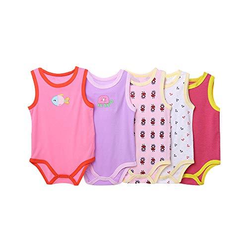 Mädchen Ärmelloses Baumwoll-pyjamas (ZEVONDA Baby Mädchen und Jungen Body - Langarm/Kurzarm/Ärmellos Wickelbody aus Baumwolle im 3er und 5er Pack)